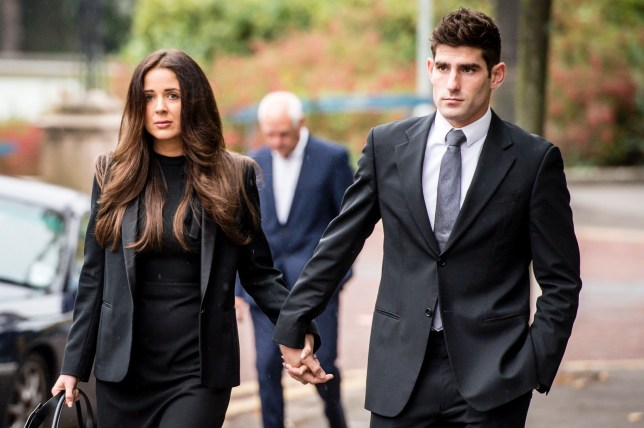 Footballer Ched Evans arrives at Cardiff Crown Court with partner Natasha Massey, where he is on trial accused of raping a woman in May 2011. PRESS ASSOCIATION Photo. Picture date: Friday October 14, 2016. See PA story COURTS Evans. Photo credit should read: Ben Birchall/PA Wire