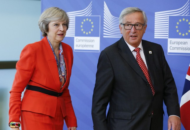 Mandatory Credit: Photo by Xinhua/REX/Shutterstock (6533998h) Theresa May and Jean-Claude Juncker European Council Summit Meeting, Brussels, Belgium - 21 Oct 2016