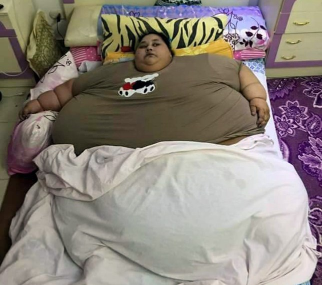 Pic shows: Iman Ahmad Abdulati.nnAn Egyptian woman is believed to be the fattest woman alive after her weight reached an incredible 79 stone.nnIman Ahmad Abdulati, 36, from Alexandria in northern Egypt, who now weighs 78.7 stone (1,102 lbs or around 500 kilogrammes), said she had not left home for 25 years because of her weight problem, and sitting at home all day she simply got fatter and fatter.nnShe said that enquiries at local hospitals by her family had not bought a solution, but after her sister Chaymaa¿ Ahmad Abdulati went public with the problem, she is now hoping to get help.nnChaymaa said that the household consists of her and her sister and their mother and that their father had died when the girls were young.nnMother and daughter said a lot of their time is spent trying to care for Iman, including feeding and cleaning her and providing her with help in going to the toilet, as she could no longer walk there.nnThey said that the woman had ended up at home from the age of 11 after suffering what they believe was a stroke that left her bedridden.nnPrior to that Iman¿s problem appeared at birth when she was born weighing 5 kilogrammes (11 lbs) and had continued growing, struggling to walk even as a young girl because of her weight and then eventually suffering a stroke after which there was no chance for her to lose any weight.nnShe never attended school because of her weight problem, and medics believe her condition is caused by a fluid retention problem meaning that large amounts of extra water are being retained in her body.nn(ends)  n
