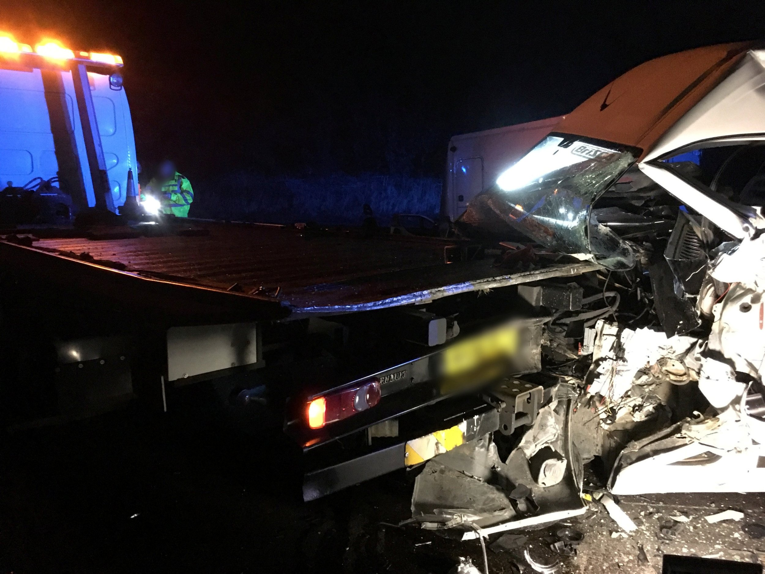 Two drivers and a seven-year-old boy narrowly cheated death in the crash on the A46 in Coventry (Picture: SWNS)