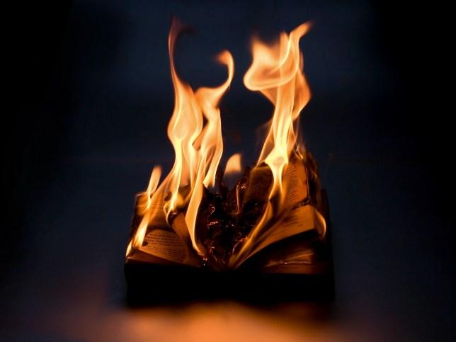 Burning book.tags:burn book knowledge wisdom nothing ashes flame fire heat anarchy revolution fascism nazi zen paper chaos disorder disregard riot turmoil