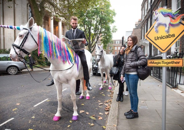 Mandatory Credit: Photo by REX/Shutterstock (6825029a) Unicorn cabs hit the streets of London as Three and ZTE inject magic into the morning commute to celebrate the launch of the new ZTE Blade 7. Uni-Cabs to celebrate launch of new ZTE Blade 7 phone, London, UK - 24 Oct 2016