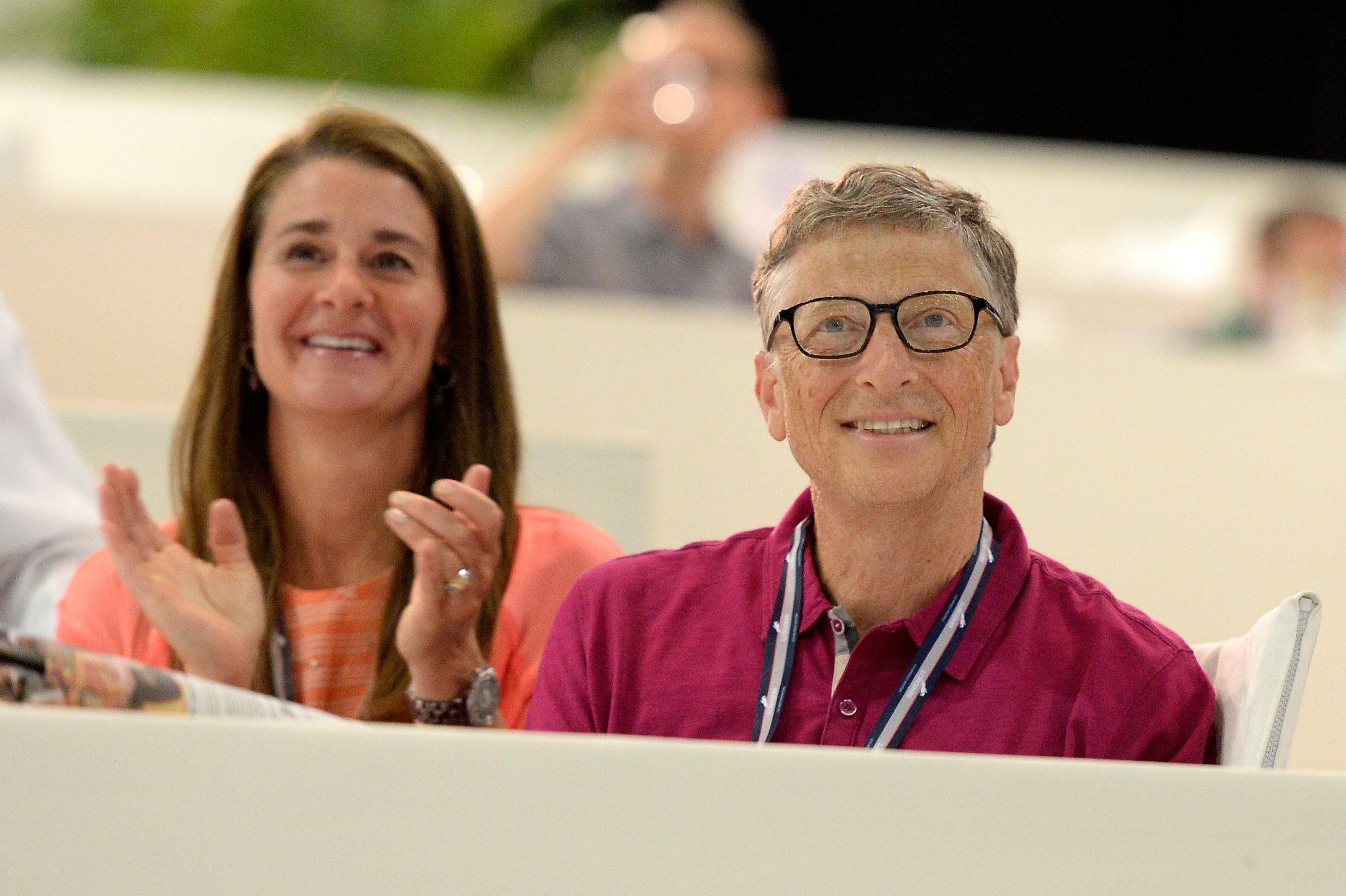 LOS ANGELES, CA - SEPTEMBER 27: Bill and Melinda Gates watch their daughter Jennifer perform during The Hollywood Reporter Trophy class at Longines Los Angeles Masters at Los Angeles Convention Center on September 27, 2014 in Los Angeles, California. (Photo by Kevork Djansezian/Getty Images for Masters Grand Slam Indoor)