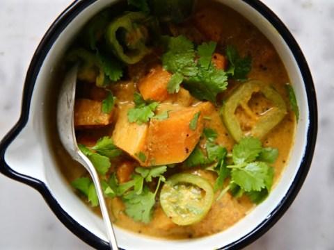 Make this coriander, butternut squash and green tomato vegan curry