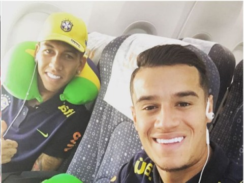 Chelsea attacker Oscar snaps Liverpool duo Philippe Coutinho and Roberto Firmino with matching neck pillows