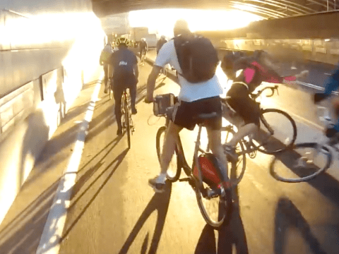 Close pass results in cycling collision on congested London bike lane