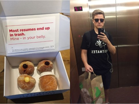 This guy dressed as a courier to hand deliver CV disguised as a box of doughnuts