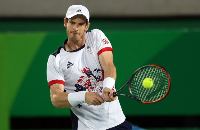 RIO DE JANEIRO, BRAZIL - AUGUST 14: Andy Murray of Great Britain in action during his match with Juan Martin del Potro of Argentina in the Men's singles final at Olympic Tennis Centre on August 14, 2016 in Rio de Janeiro, Brazil. (Photo by Ian MacNicol/Getty Images) (Photo by Amin Mohammad Jamali/Getty Images)