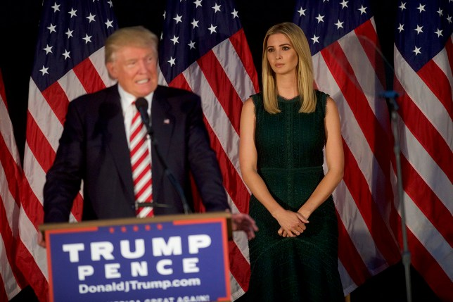 pic - getty ASTON, PA - SEPTEMBER 13: Ivanka Trump looks on as father, Republican presidential hopeful Donald J. Trump speaks at a campaign event at the Aston Township Community Center on September 13, 2016 in Aston, Pennsylvania. Recent national polls show the presidential race is tightening with two months until the election. (Photo by Mark Makela/Getty Images)