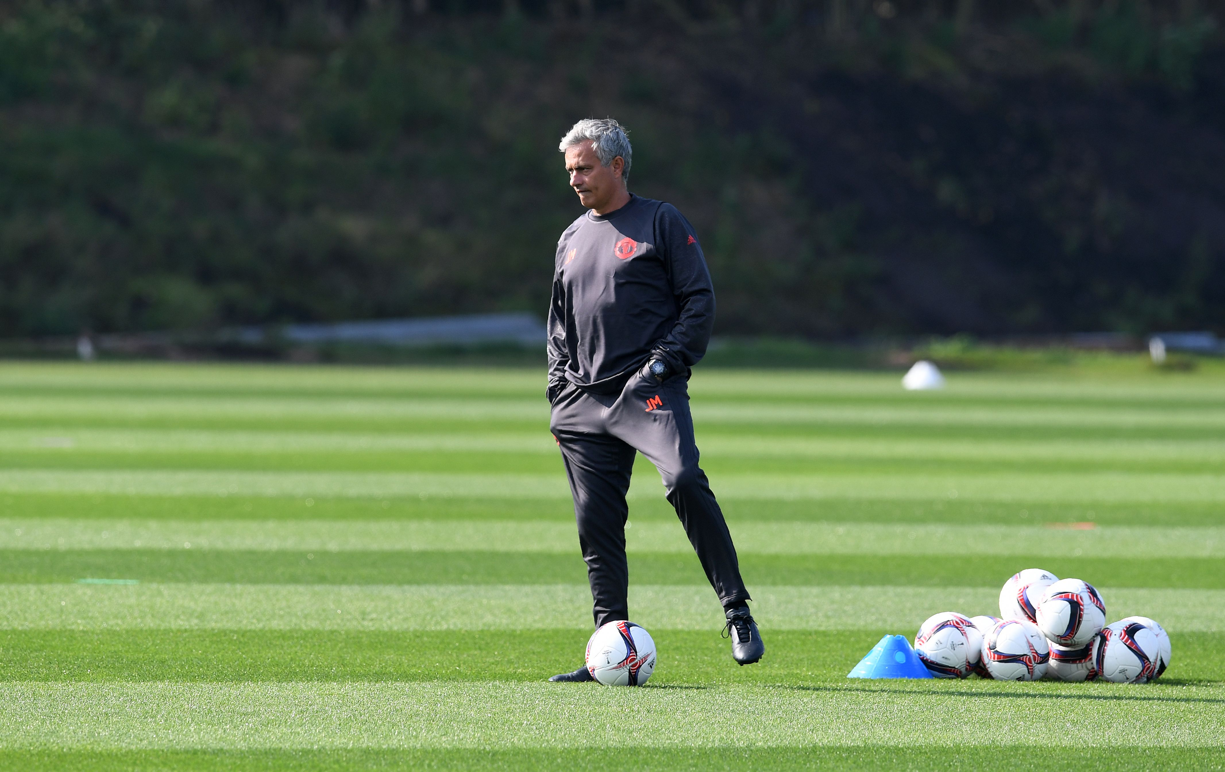 Manchester United's Portuguese manager Jose Mourinho takes a team training session at their Carrington Training Centre in Manchester, north west England on September 14, 2016. Manchester United are set to play Feyenoord Rotterdam in a UEFA Europa League group A match on September 15. / AFP / PAUL ELLIS (Photo credit should read PAUL ELLIS/AFP/Getty Images)