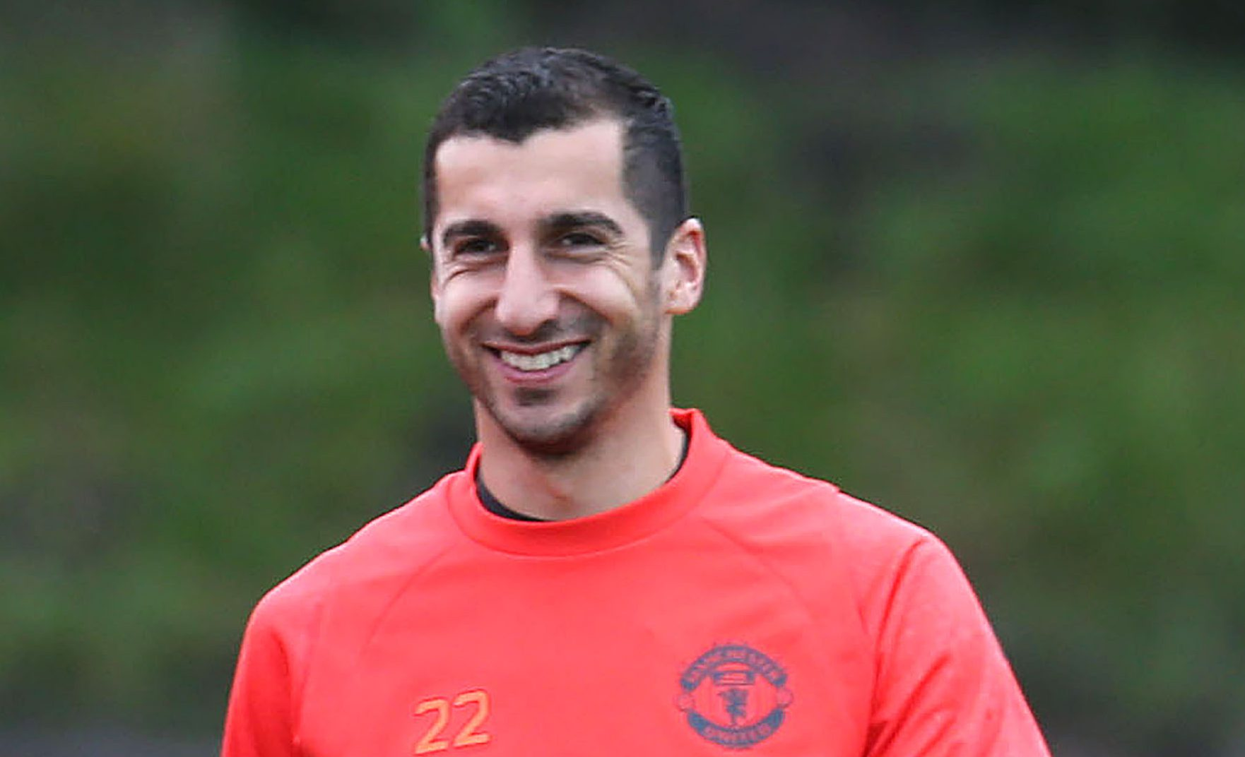 MANCHESTER, ENGLAND - SEPTEMBER 28: Henrikh Mkhitaryan of Manchester United smiles during a Manchester United Training session at Aon Training Complex on September 28, 2016 in Manchester, England. (Photo by John Peters/Man Utd via Getty Images) H (Photo by John Peters/Man Utd via Getty Images)