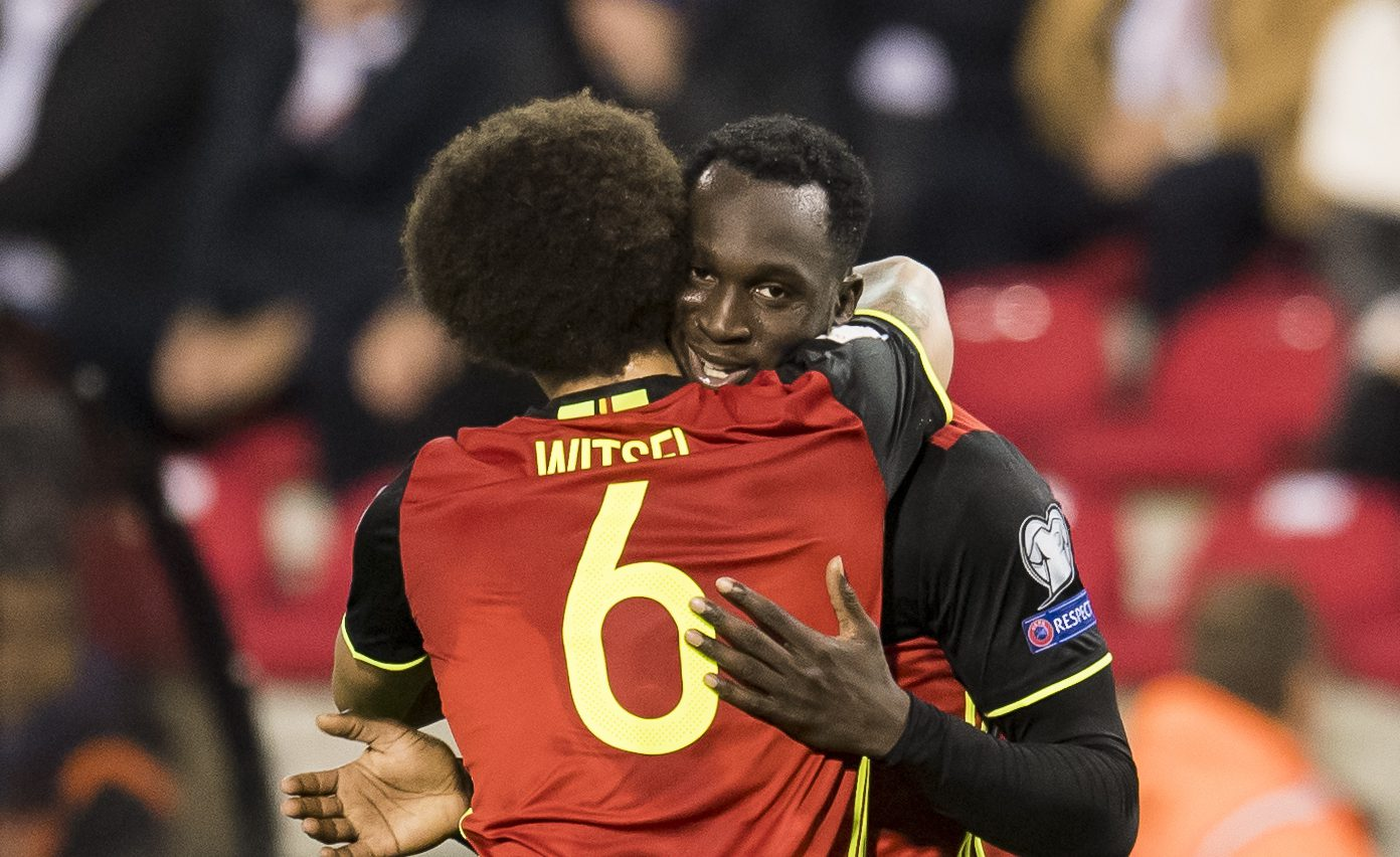 (L-R) Axel Witsel of Belgium, Romelu Lukaku of Belgiumduring the FIFA World Cup 2018 qualifying match between Belgium and Bosnie Herzegowina on October 07, 2016 at the Koning Boudewijn stadium in Brussels, Belgium.(Photo by VI Images via Getty Images)