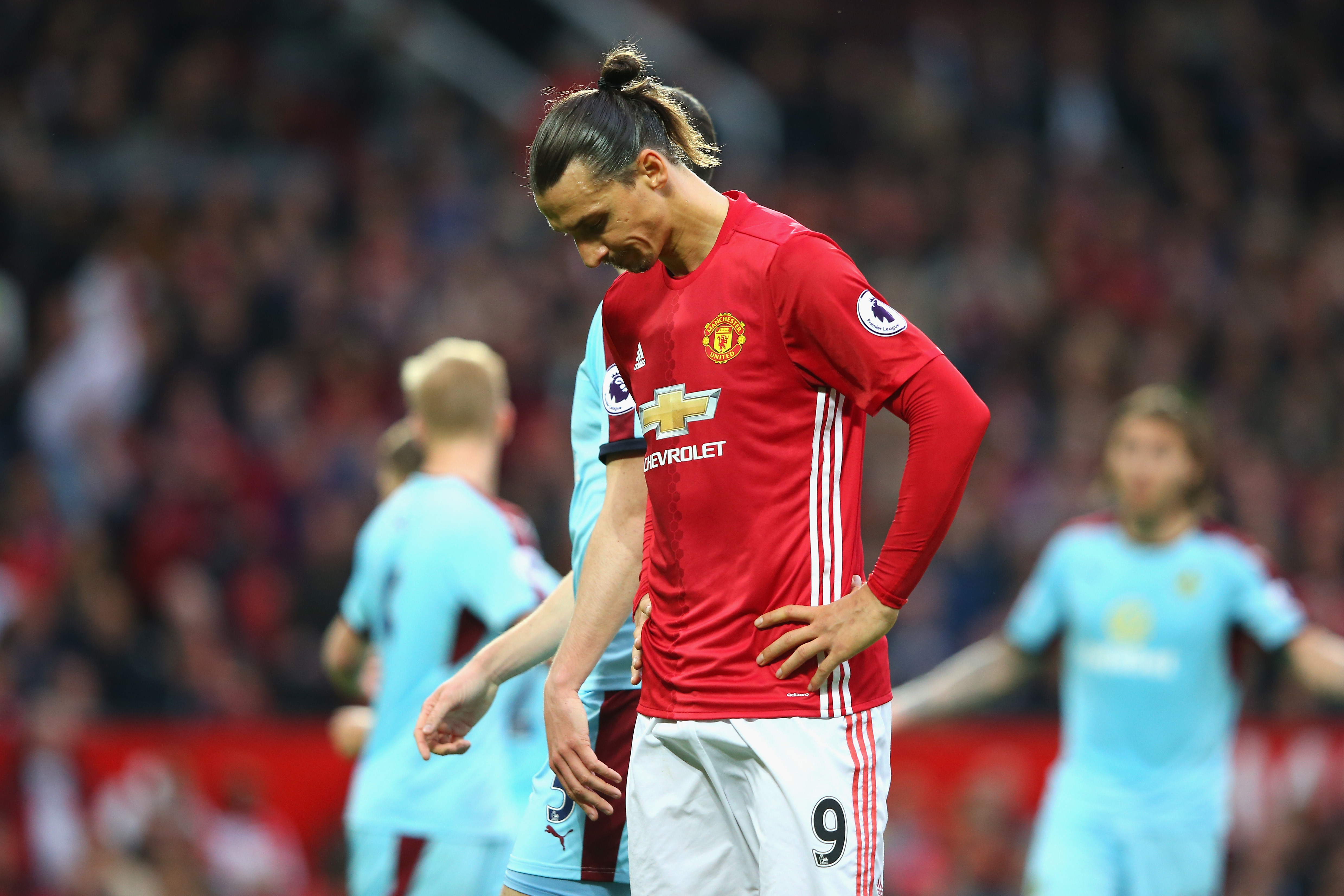 MANCHESTER, ENGLAND - OCTOBER 29: Zlatan Ibrahimovic of Manchester United reacts during the Premier League match between Manchester United and Burnley at Old Trafford on October 29, 2016 in Manchester, England. (Photo by Alex Livesey/Getty Images)