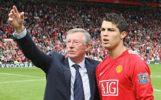 MANCHESTER, ENGLAND - MAY 3: Sir Alex Ferguson and Cristiano Ronaldo of Manchester United salute the crowd after the Barclays FA Premier League match between Manchester United and West Ham United at Old Trafford on May 3 2008, in Manchester, England. (Photo by Matthew Peters/Manchester United via Getty Images)