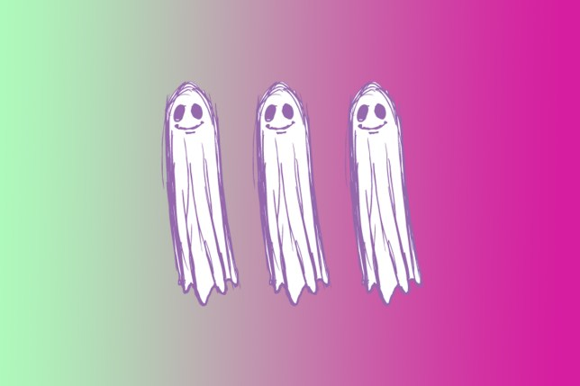 ghosts on pink and green background