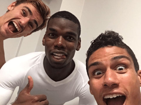 Agent Paul Pogba: Manchester United ace snapped with Antoine Griezmann and Raphael Varane
