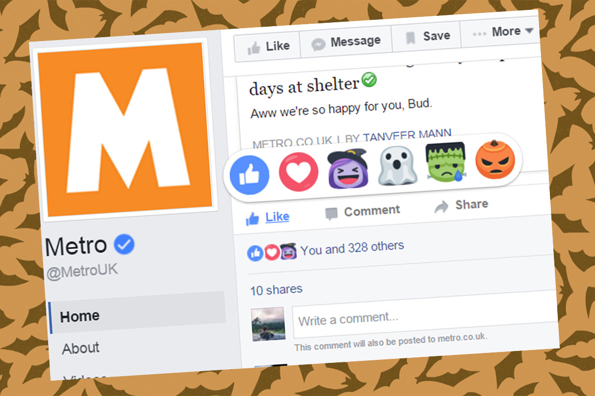 Facebook Reactions have been given a Halloween makeover