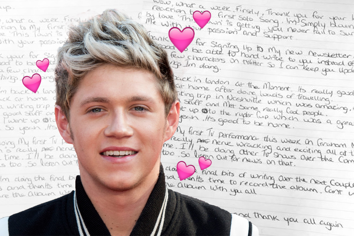 Niall Horan has handwritten a thank you note to fans and we analysed his writing
