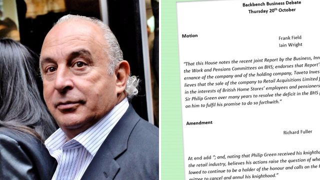 MPs call vote on whether Sir Philip Green should lose his knighthood