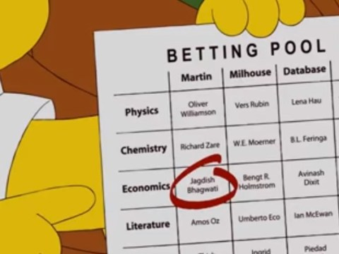 The Simpsons predicted this year's Nobel Prize winner in 2010