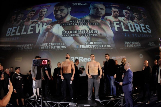 WORLD CHAMPIONSHIP BOXING WEIGH IN ODEON,LIVERPOOL PIC;LAWRENCE LUSTIG WBC WORLD CRUISERWEIGHT TITLE THINGS GET HEATED AS CHAPION TONY BELLEW AND CHALLENGER B J FLORES WEIGH IN FOR TOMORROW NIGHTS CONTEST ON EDDIE HEARNS PROMOTION AT LIVERPOOLS ECHO ARENA