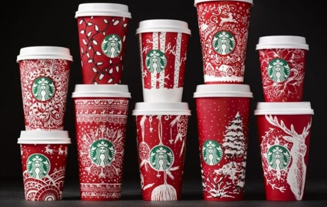 Starbucks Christmas Cups.Starbucks Red Cups 13 Different Christmas Drinks Designs