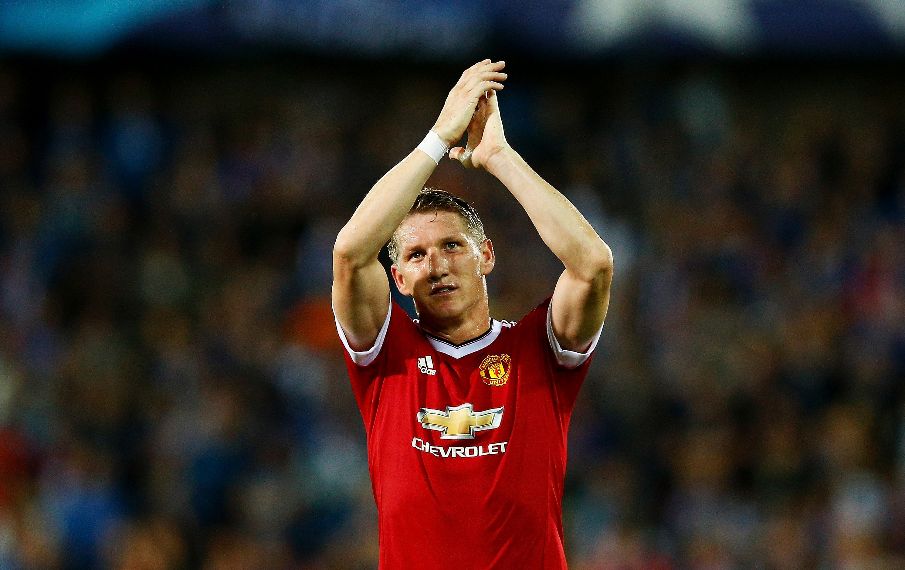 BRUGGE, BELGIUM - AUGUST 26: Bastian Schweinsteiger of Manchester United celebrates after the UEFA Champions League qualifying round play off 2nd leg match between Club Brugge and Manchester United held at Jan Breydel Stadium on August 26, 2015 in Brugge, Belgium. (Photo by Dean Mouhtaropoulos/Getty Images)