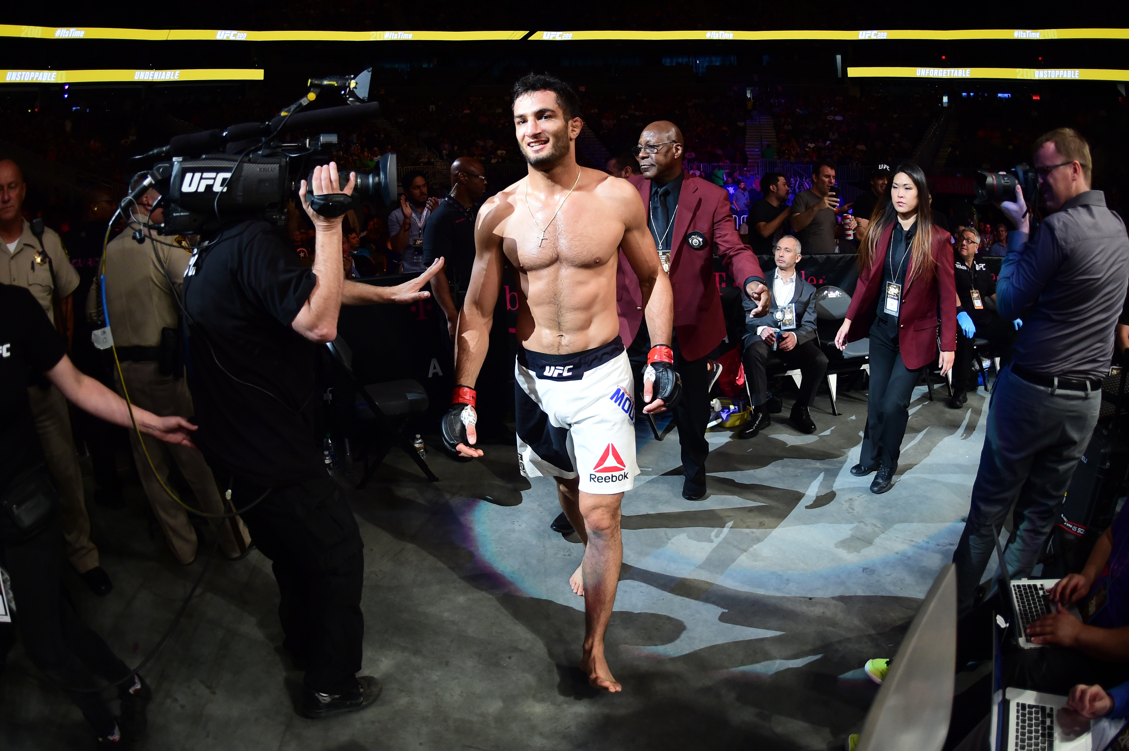 LAS VEGAS, NV - JULY 09: Gegard Mousasi of The Netherlands exits the Octagon after defeating Thiago Santos of Brazil in their middleweight bout during the UFC 200 event on July 9, 2016 at T-Mobile Arena in Las Vegas, Nevada. (Photo by Harry How/Zuffa LLC/Zuffa LLC via Getty Images)