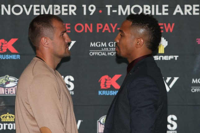 """NEW YORK, NEW YORK - SEPTEMBER 06: Sergey Kovalev (L) and Andre Ward (R) face off during the press conference for the Kovalev v Ward """"Pound for Pound"""" bout at Le Parker Meridien on September 6, 2016 in New York City. (Photo by Michael Reaves/Getty Images)"""