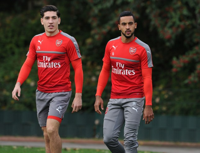 ST ALBANS, ENGLAND - OCTOBER 21: (L-R) Hector Bellerin and Theo Walcott of Arsenal before a training session at London Colney on October 21, 2016 in St Albans, England. (Photo by Stuart MacFarlane/Arsenal FC via Getty Images)