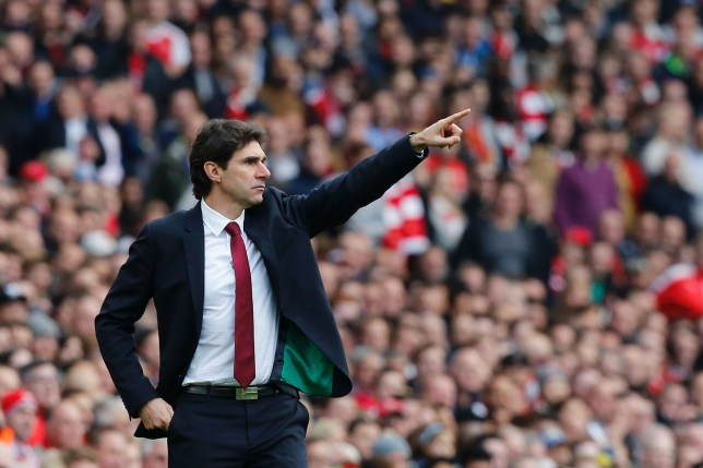 Middlesbrough's Spanish manager Aitor Karanka gestures from the touchline during the English Premier League football match between Arsenal and Middlesbrough at the Emirates Stadium in London on October 22, 2016. / AFP / Ian KINGTON / RESTRICTED TO EDITORIAL USE. No use with unauthorized audio, video, data, fixture lists, club/league logos or 'live' services. Online in-match use limited to 75 images, no video emulation. No use in betting, games or single club/league/player publications. / (Photo credit should read IAN KINGTON/AFP/Getty Images)