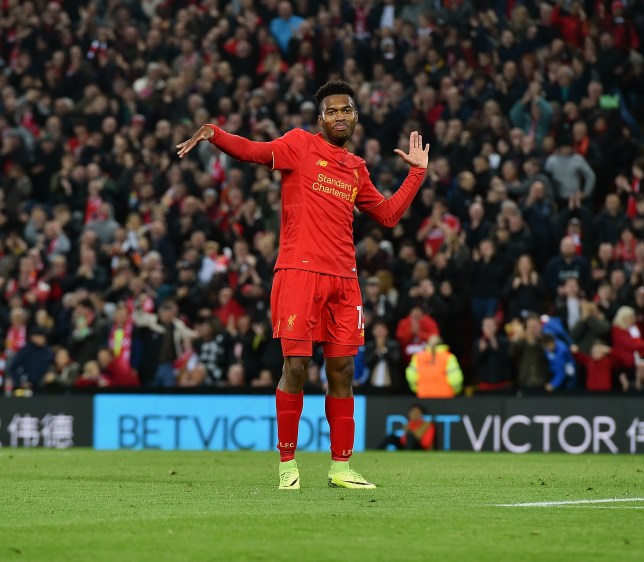LIVERPOOL, ENGLAND - OCTOBER 25: (THE SUN OUT, THE SUN ON SUNDAY OUT) Daniel Sturridge of Liverpool celebrates after scoring the second goal during the EFL Cup fourth round match between Liverpool and Tottenham Hotspur at Anfield on October 25, 2016 in Liverpool, England. (Photo by John Powell/Liverpool FC via Getty Images)