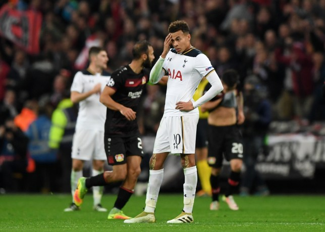 LONDON, ENGLAND - NOVEMBER 02: Dele Alli of Tottenham Hotspur reacts after Bayer Leverkusen score their first goal during the UEFA Champions League Group E match between Tottenham Hotspur FC and Bayer 04 Leverkusen at Wembley Stadium on November 2, 2016 in London, England. (Photo by Shaun Botterill/Getty Images)