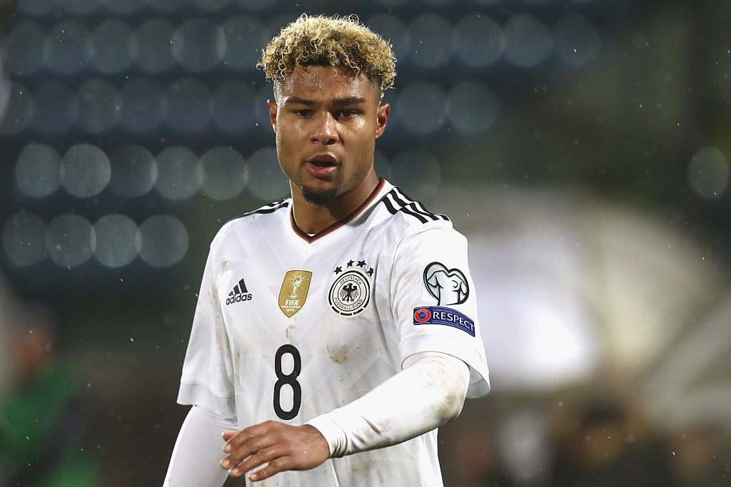 SAN MARINO - NOVEMBER 11:  Serge Gnabry of Germany looks on during  the FIFA 2018 World Cup Qualifier between San Marino and Germany at Stadio Olimpico on November 11, 2016 in San Marino, San Marino.  (Photo by Alexander Hassenstein/Bongarts/Getty Images)