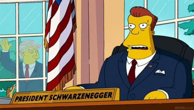 Simpsons predicts Arnold Schwarzenegger will succeed Trump in the White House Credit: Fox