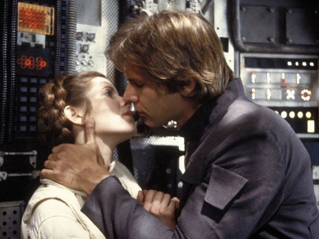 Film: The Emipre Strikes Back. (1980) Princess Leia and Han Solo (Carrie Fisher & Harrison Ford) in a still from the film, The Emipre Strikes Back.