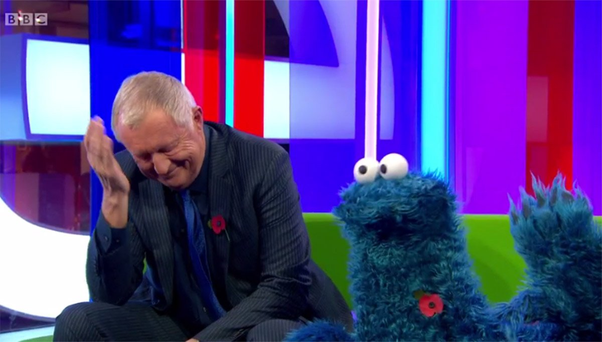 Cookie Monster surprises The One Show viewers by turning up wearing a poppy