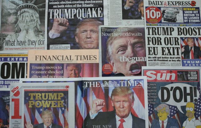 LONDON, ENGLAND - NOVEMBER 09: British newspapers show U.S. Republican candidate and President Elect Donald Trump on their front pages the day after Trump was announced the winner in U.S. presidential elections on November 9, 2016 in London, England. The American public have voted for the Republican candidate Donald Trump to be the 45th President of the United States. After 46 of the 50 States declared he had 278 of the 538 electoral college votes and Hillary Clinton conceded defeat in a telephone call. British Prime Minister Theresa May congratulated Trump releasing a statement promising to work with him to build on the special relationship between the UK and the USA. (Photo by Dan Kitwood/Getty Images)