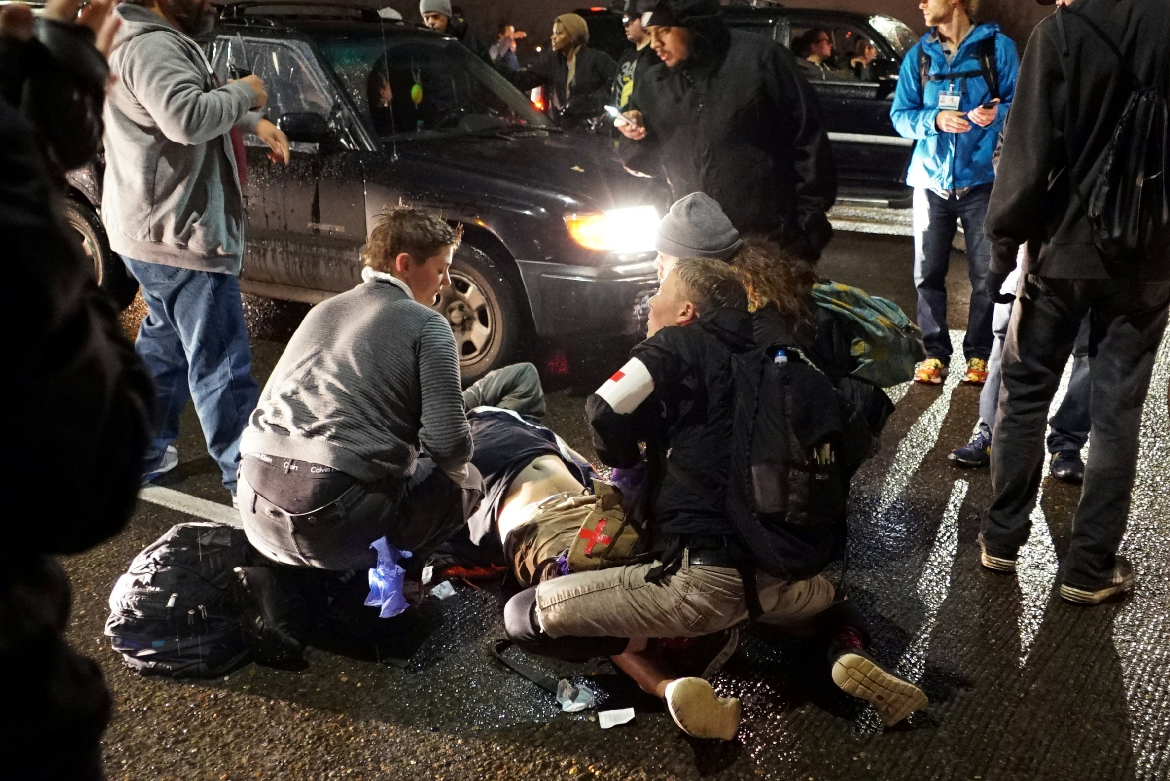 Man shot multiple times at anti-Trump rally
