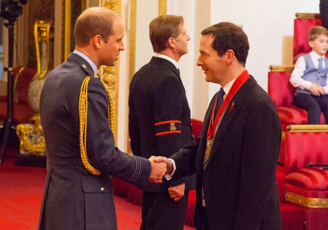 Former Chancellor George Osborne is a member of the Order of the Companions of Honour by the Duke of Cambridge during an Investiture ceremony at Buckingham Palace, London. ... Investitures at Buckingham Palace ... 11-11-2016 ... London ... UK ... Photo credit should read: Dominic Lipinski/PA Wire. Unique Reference No. 29146074 ... Picture date: Friday November 11, 2016. Photo credit should read: Dominic Lipinski/PA Wire