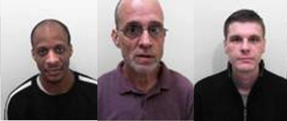 Composite of undated handout photos issued by Avon and Somerset Police of (l-r) Admi Headley, 34, Paul Bromwich, 54 and Wayne Maycock, 33, who absconded from HMP Leyhil, south Gloucestershire, on Nov 13. PRESS ASSOCIATION Photo. Issue date: Monday November 14, 2016. See PA story PRISONS Leyhill. Photo credit should read: Avon and Somerset Constabulary/PA Wire NOTE TO EDITORS: This composite handout photo may only be used in for editorial reporting purposes for the contemporaneous illustration of events, things or the people in the image or facts mentioned in the caption. Reuse of the picture may require further permission from the copyright holder.