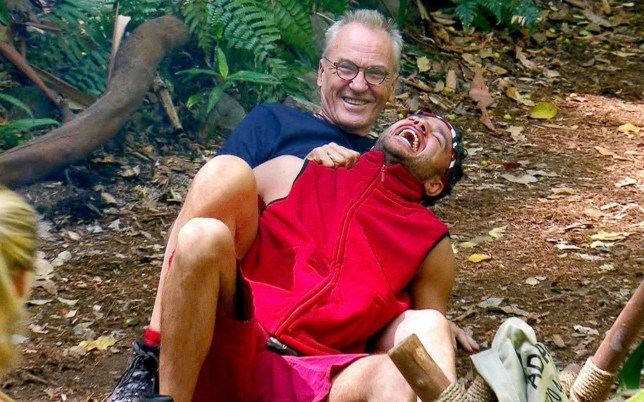 ***EMBARGO, NOT TO BE USED BEFORE 22:00 GMT, 14 Nov 2016 - EDITORIAL USE ONLY - NO MERCHANDISING*** Mandatory Credit: Photo by ITV/REX/Shutterstock (7433054en) Larry Lamb giving Adam Thomas a piggyback 'I'm a Celebrity...Get Me Out of Here!' TV Show, Australia - 14 Nov 2016