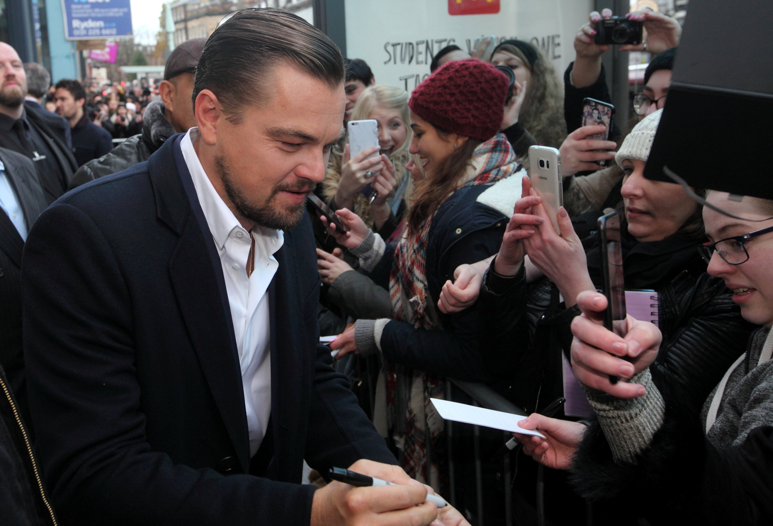 Leonardo DiCaprio has arrived in Edinburgh and – shock horror – he's NOT surrounded by blonde models