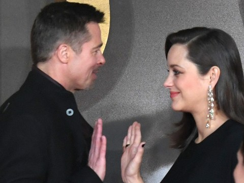 Brad Pitt and pregnant Marion Cotillard share a friendly high-five at the Allied UK premiere