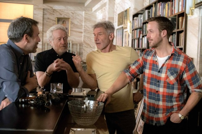 Harrison Ford and Ryan Gosling hang out with producer Ridley Scott and director Denis Villenueve (Picture: Warner Bros)