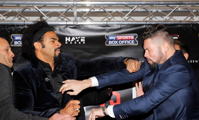 HAYE VS BELLEW PRESS CONFERENCE DORCHESTER HOTEL,LONDON PIC;LAWRENCE LUSTIG DAVID HAYE AND TONY BELLEW GET HEATED AS THEY MEET FACE TO FACE AS THEY ANNOUNCE THEIR FIGHT AT LONDONS 02 0N 4TH MARCH 2017