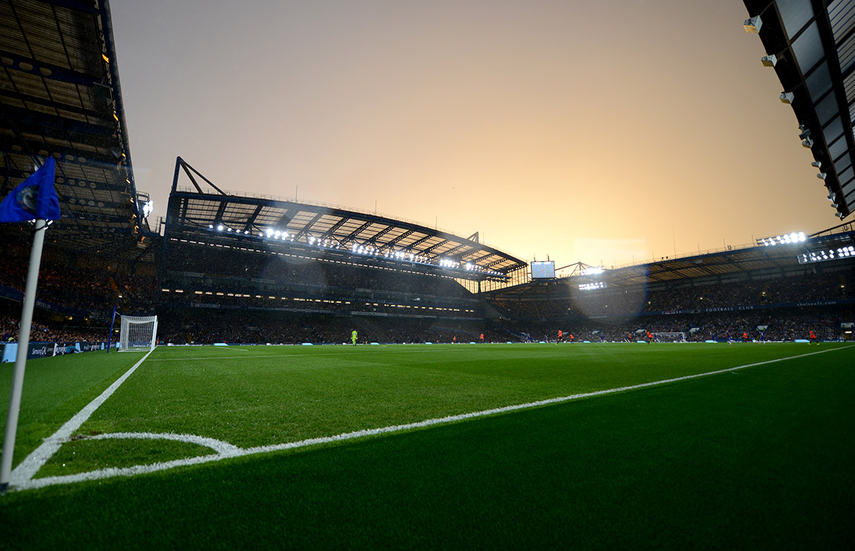 General view of the action between Chelsea and Real Sociedad under the new floodlights at Stamford Bridge (Photo by Darren Walsh/Chelsea FC via Getty Images)