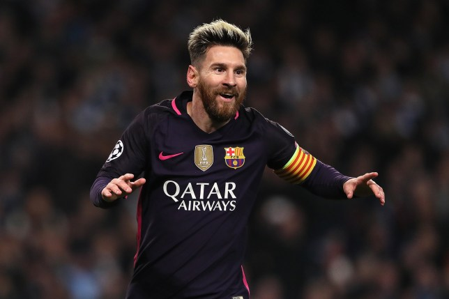 80a14ba1332 MANCHESTER, ENGLAND - NOVEMBER 01: Lionel Messi of Barcelona celebrates  scoring the first goal. Lionel Messi has broken Raul's Champions League  goal record.