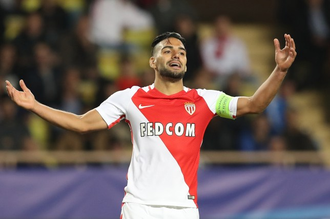 Monaco's Colombian forward Radamel Falcao celebrates after scoring a goal during the UEFA Champions League Group E football match between AS Monaco FC and PFC CSKA Moscow at the Louis II Stadium in Monaco on November 2, 2016.  / AFP / VALERY HACHE        (Photo credit should read VALERY HACHE/AFP/Getty Images)