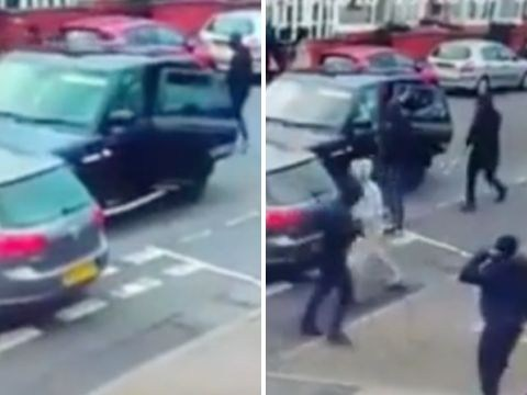 Two gangs caught on CCTV in armed fight following minor car collision